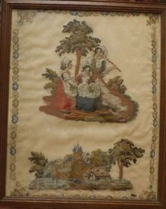Antique Hand Sewn Tapestry Wool Work Original Maple Wood Frame Sewing Linens & Textiles (pre-1930)