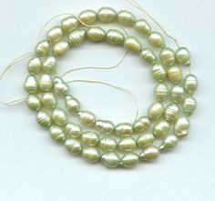 "Freshwater Pearls Loose Beads 6x8mm Green 16"" Strand Craft jewlery  # 49"