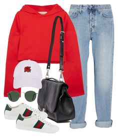 """""""Untitled #3109"""" by camilae97 ❤ liked on Polyvore featuring M.i.h Jeans, Golden Goose, Proenza Schouler, Gucci, Ray-Ban and Armitage Avenue"""