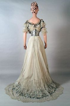 Evening Dress Of White Net, Lace And Silver Sequins - England c. 1900 - Kent State University Museum