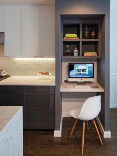 Image result for hidden kitchen computer nook
