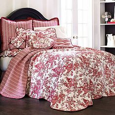 Toile Garden Bedspread and Accessories. Comes in red, blue, and black. Blue.