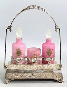 Pink!!! Victorian Satin Glass Dresser Set