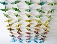 Origami paper cranes made from maps Origami Paper Crane, Paper Cranes, Map Crafts, Arts And Crafts, Chandeliers, Rolled Paper Art, Cut Paper, Sewing Projects, Diy Projects