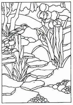 171 best landscape drawings images in 2019 Britsh Columbia Landscape stained glass flower bird stream coloring page