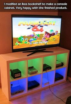 May do something like this to corral the growing number of video game consoles my daughter and husband have.