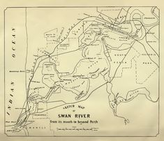 The Visit of Charles Fraser (the Colonial Botanist of New South Wales) to the Swan River in 1827 by J. Perth Western Australia, Australia Map, First Fleet, Old Maps, Vintage Maps, Cartography, Continents, Swan, Colonial