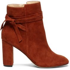 Sole Society Flynn Wrap Around Bootie (41 BHD) ❤ liked on Polyvore featuring shoes, boots, ankle booties, rust, ankle strap bootie, suede booties, sole society boots, suede bootie and ankle boots