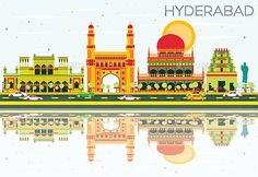 Abstract Hyderabad Skyline with Color Landmarks and Reflections.