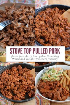 Delicious Low Syn Pulled Pork in an amazing BBQ Sauce and ready and on your plate in less than 40min from start to finish.