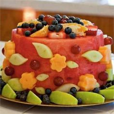 Fruit birthday cake:I am going to make this for my friend Diane's birthday, since she gave up cake this year :)