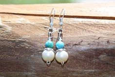 Turquoise Stone & Pearl Earrings~ Free Shipping