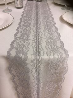 6ft Grey Lace Table Runner, Wedding runner, 8in Wide x 78in Long! Lace Overlay, Vintage Lace, Grey Wedding Decor