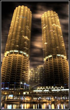 My favorite buildings in my favorite city![The corn towers, chicago] . officially referred known as 'Marina Towers' in architectural circles and look amazing on the Chicago River Chicago River, Chicago City, Chicago Illinois, Chicago Chicago, Chicago Night, Visit Chicago, Unique Buildings, Amazing Buildings, Beautiful Architecture