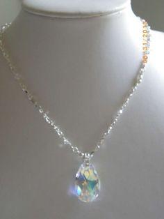 Handmade Crystal Teardrop , Teardrop Pendant , Swarovski Crystal Jewelry $39 - I want it!!