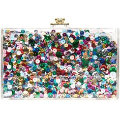 ashlyn'd Glimmer Clutch (913.250 COP) ❤ liked on Polyvore featuring bags, handbags, clutches, rainbow, locking purse, multi colored purses, transparent purse, multicolor handbags and multi color purse