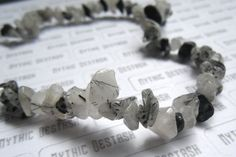 destash - black rutilated quartz gemstone chip beads - 12 inch strand