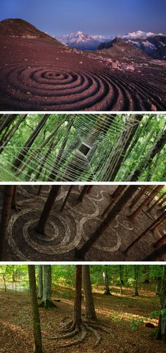 I love earthworks and land art. One of my favorites is the swirl pattern made of twigs around the bases of trees. Beautiful.