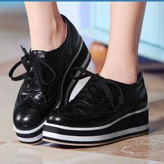 Primavera y otoño nueva 2015 women shoes plataforma plana zapatos con cordones moda Bost cómodos mocasines zapatos de vestir