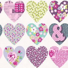 Patchwork Hearts - A striking collage of patchwork hearts in two beautiful colour combinations. Coordinate with Sparkle stripe to create an exciting and vibrant look.