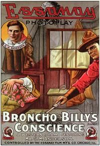 Theatrical poster for the 1915 silent film Broncho Billy's Conscience.