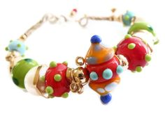 Bracelet Freshwater Pearl Colorful Lampwork Glass by JanetDavies, $215.00