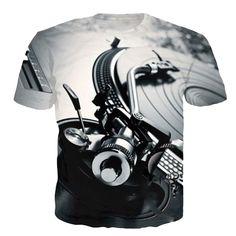 Newest Fashion Womens/Mens Technics Turntable DJ Music Audio Funny Print Casual T-Shirt 3d T Shirts, Casual T Shirts, T Shirt Halloween, Technics Turntables, Streetwear Summer, Hipster Women, Basic Tops, Fashion Seasons, New Fashion