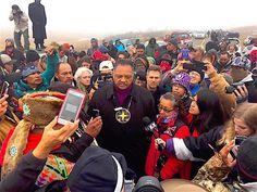 The Rev. Jesse Jackson speaks to water protectors standing against the Dakota Access oil pipeline on Wednesday October 26. (Photo: Courtesy KILI Radio)