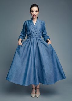 Size S-M, Plus size dress, Kimono dress, Linen dress, Wide dress, Casual dress, Midi dress, Long dress, Plus size clothing, Elegant dress