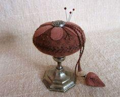 Primitive Hand Dyed Wool & Silver Make-Do Pinkeep-Pincushion+Strawberry Fob~PRHG