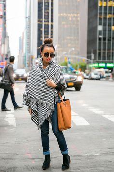 black + white blanket coat #theeverygirl