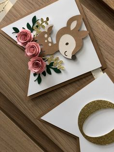 Floral Banners, Creation Deco, Baby Shower, Diy Birthday, Paper Flowers, Pink And Gold, First Birthdays, Paper Crafts, Baby Animals
