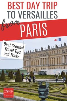 Get the best day trip to Versailles from Paris by train travel tips and tricks so you know when and how to beat the crowds in your #Paris over 40 travel and solo travel. By @CORRTravel #CORRTravel Travel Tips and Tricks | Solo Travel Tips | Travel Planning | France Travel Guide | Travel Guides | International Travel Tips | Solo Travel Destinations | Over 40 Travel | Retirement Travel Ideas Paris Travel Tips, Solo Travel Tips, Europe Travel Guide, France Travel, Travel Destinations, Travel Ideas, Paris Tips, Budget Travel, Day Trip From Paris