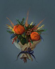 Pumpkin bouquet by eltowergo on DeviantArt Pumpkin Bouquet, Challenge, Autumn, Deviantart, Painting, Instagram, Concept, Sketches, Artists