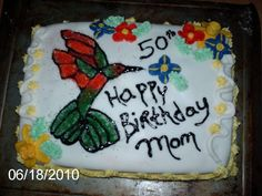 June 2010: Humming Bird Birthday Cake
