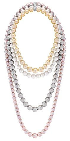 Diamond, Tahitian cultured pearl, South Sea cultured pearl, and freshwater cultured pearl 'Perles Swing' necklace.