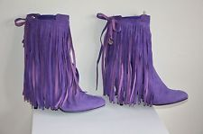 PATRIZIA PEPE Purple Suede Detachable Fringe Ankle Boots IT 40/US 9 NEW $800+