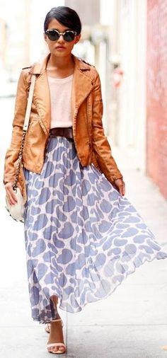 Blue Printed Pleated Maxi Skirt