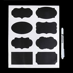 The Vinyl Wall Reusable Chalk Labels 40 Small Rectangle and Oval Adhesive Chalkboard Stickers, Dishwasher Safe, 2 by 1-Inch