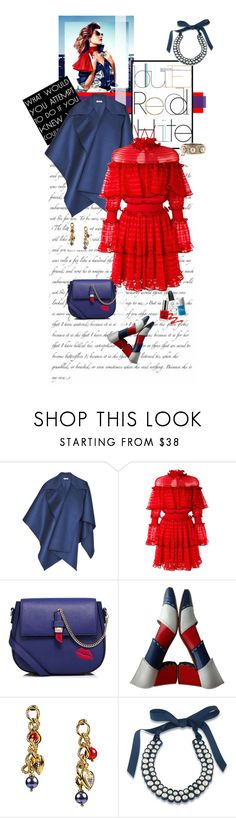 """Red, White & Blue: Celebrate the 4th!"" by celeste-menezes ❤ liked on Polyvore featuring Burberry, Alexander McQueen, WithChic, Salvatore Ferragamo, 1st & Gorgeous by Carolee, Konstantino and fourthofjuly"