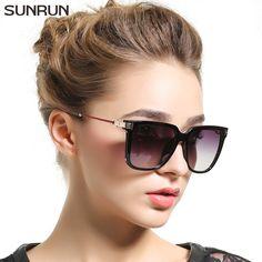 dc3466f3b18c7 SUNRUN Quadrados Óculos De Sol Mulheres Espelhar óculos de Sol Marca de  Moda de Luxo T6135