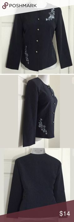 """Peri Petites Embroidered Button Front Jacket Lightly striped, navy blue, long sleeve, floral embroidered jacket / blazer. Bust: 41""""; Length in the back from the shoulder:  23"""". 100% Polyester. Hand wash. Smoke free home. Thanks for shopping my closet ! Peri Petites Jackets & Coats Blazers"""