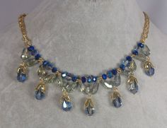 Gold With Blue Glass Blossom Drop Necklace Earrings Set Fashion Jewelry NEW