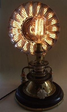 Safari Steampunk Anyone? Steampunk is a rapidly growing subculture of science fiction and fashion. Lampe Steampunk, Steampunk House, Steampunk Diy, Steampunk Home Decor, Steampunk Clothing, Steampunk Fashion, Lampe Tube, Diy Luminaire, Steampunk Furniture