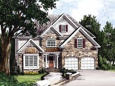 New American House Plan with 2275 Square Feet and 4 Bedrooms from Dream Home Source | House Plan Code DHSW09315