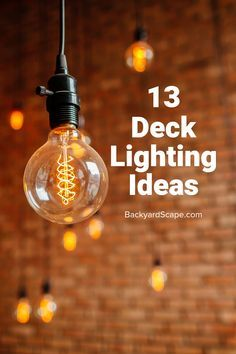 13 Amazing deck lighting ideas for covered or outdoor decks. Several ideas from rope solar lanterns and hanging. 13 Amazing deck lighting ideas for covered or outdoor decks. Several ideas from rope solar lanterns and hanging. Hanging Patio Lights, Solar Deck Lights, Indoor String Lights, Solar Lanterns, Outside Lighting Ideas, Outdoor Deck Lighting, Landscape Plans, Landscape Design, Under Decks