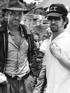 Harrison Ford & Steven Spielberg & - Set of 'Indiana Jones and the Temple of Doom' (1984)