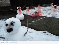 Zombie Snowman - Love this. And if you get a kick out of dark humour involving snowmen, you might enjoy my free 2 story eChapbook:  Snowman Shivers.  Amazon (http://www.amazon.com/gp/product/B006KF67GK/), Kobo (http://www.kobobooks.com/ebook/Snowman-Shivers-Scary-Snowmen-Tales/book-laf-P6VjS0GxQO0gbmigCg/page1.html) and many other eBook retailers