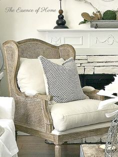 The Essence of Home: Cane Wingback Chair Chair Makeover, Furniture Makeover, Furniture Refinishing, French Furniture, Home Furniture, Refurbished Furniture, Repurposed Furniture, Furniture Stores, Rattan