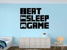 EAT SLEEP GAME Gamer wall decal - Gamer Room Wall Vinyl Decal Sticker